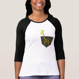 Camiseta del raglán de la manga de la jirafa 3/4 poleras