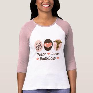 Camiseta del raglán de la radiología del amor de