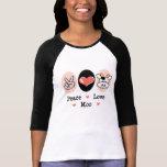 Camiseta del raglán de la vaca del MOO del amor de