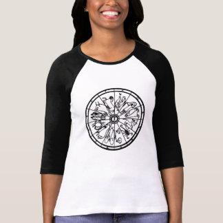 Camiseta del raglán de las mujeres de la manga del