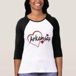 Camiseta del raglán de las señoras del corazón de