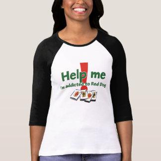 Camiseta del raglán de las señoras rojas del perro