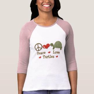 Camiseta del raglán de las tortugas del amor de la