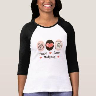 Camiseta del raglán de Mahjong del amor de la paz