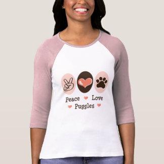 Camiseta del raglán de Puggles del amor de la paz