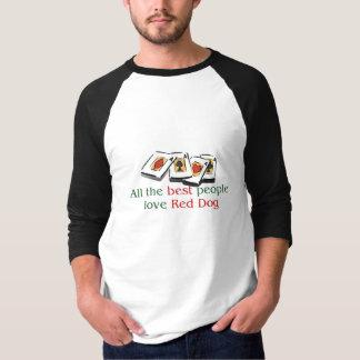 Camiseta del raglán del amante rojo del perro