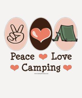 Camiseta del raglán del amor de la paz que acampa