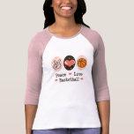 Camiseta del raglán del baloncesto del amor de la