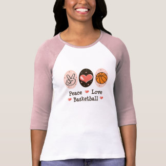 Camiseta del raglán del baloncesto del amor de la playeras
