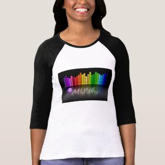 Camiseta del raglán del equalizador de la música playera