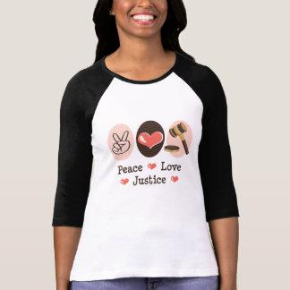 Camiseta del raglán del juez de la justicia del playeras