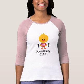 Camiseta del raglán del polluelo de Powerlifting