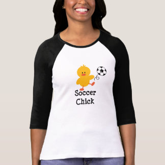Camiseta del raglán del polluelo del fútbol polera