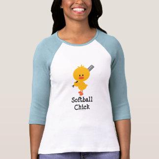 Camiseta del raglán del polluelo del softball