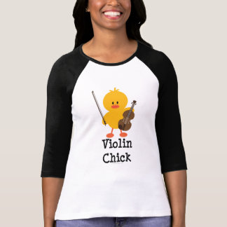 Camiseta del raglán del polluelo del violín