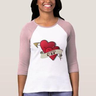 Camiseta del raglán del rosa del tatuaje de los co