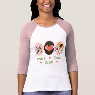 Camiseta del raglán del sushi del amor de la paz