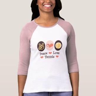 Camiseta del raglán del tenis del amor de la paz polera