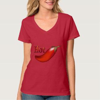 Camiseta del rojo de las señoras de la pimienta