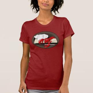 Camiseta del rojo de las señoras de la plantilla playera