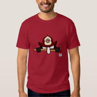 Camiseta del rojo del icono de Kilroy del bombero Remera
