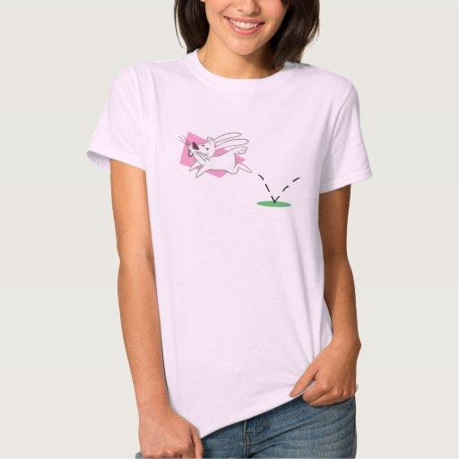 Camiseta del salto del conejito playera