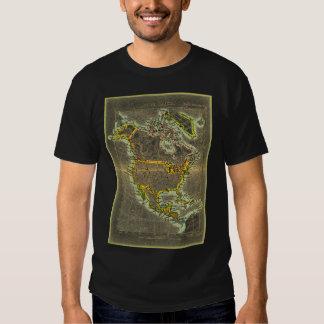 Camiseta del siglo XIX del mapa de Norteamérica Playeras
