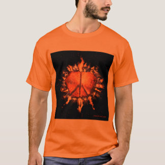 Camiseta del signo de la paz hecha del fuego