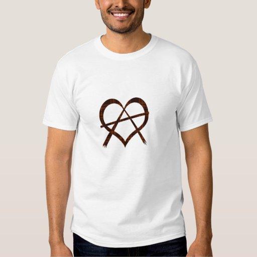 Camiseta del símbolo del corazón de la anarquía polera