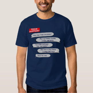 Camiseta del soporte técnico playera