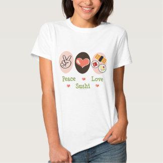 Camiseta del sushi del amor de la paz camisas