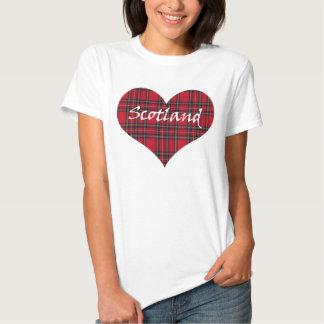 Camiseta del tartán del corazón de Escocia Playera