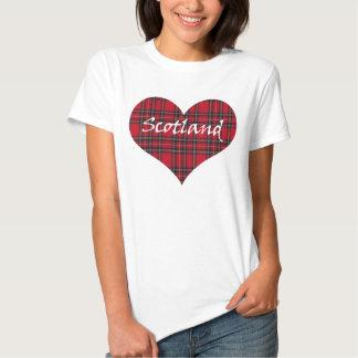 Camiseta del tartán del corazón de Escocia Playeras