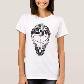 Camiseta del texto de la máscara del portero del