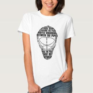 Camiseta del texto de la máscara del portero del playeras