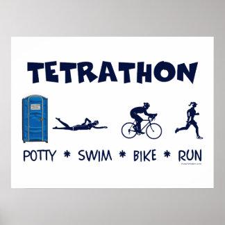 Camiseta del Triathlon de Tetrathon Póster
