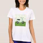 Camiseta del verde del trío de la vespa