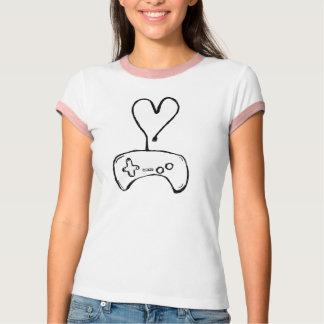Camiseta del videojugador del chica con el playeras