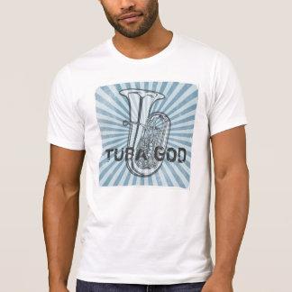Camiseta del vintage de dios de la tuba polera