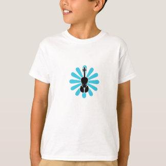 Camiseta del violín de los chicas con la flor poleras