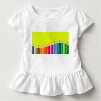 Camiseta del volante del niño con los lápices del playera