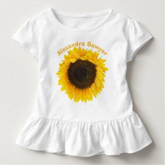 Camiseta del volante del niño del girasol playeras