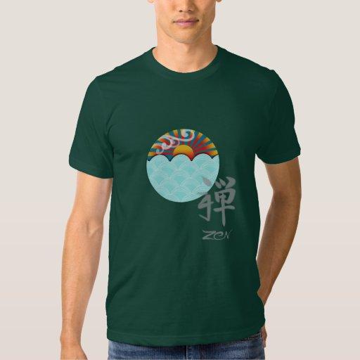 Camiseta del zen con el viento y agua camisas