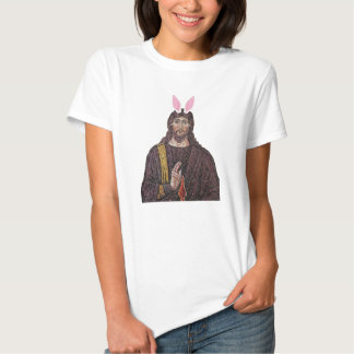 Camiseta divertida de Jesús del conejito de pascua Playera