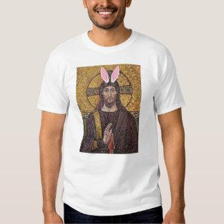 Camiseta divertida de Jesús del conejito de pascua Playeras