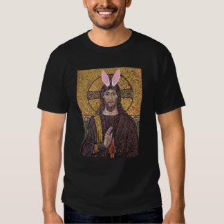 Camiseta divertida de Jesús del conejito de pascua Poleras