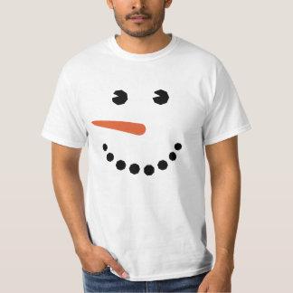 Camiseta divertida de la cara del muñeco de nieve