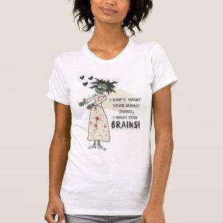 Camiseta divertida de los cerebros de la novia del playera