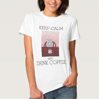 Camiseta divertida del amante del gato del café de polera