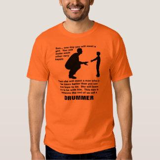 Camiseta divertida del batería paternal del polera